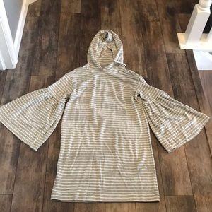 NWT Lou & Grey S Gray & White Striped Hoodie Dress
